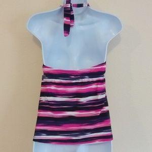 Catalina Swim - Purple & Pink Tankini Halter Swim Top Size Large